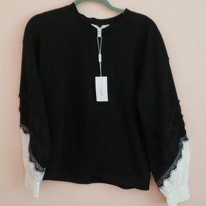 NEW ❤ Black jersey sweater w/lace, cuffed sleeves